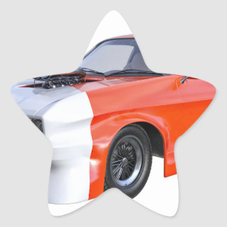 2016 Orange and White Muscle Car Star Sticker