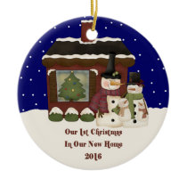 2016 Our New Home Christmas Snowman Ceramic Ornament