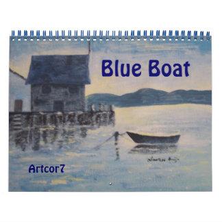 2016 página azul del estándar dos del barco del calendario de pared