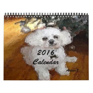2016 página de pintura del estándar dos del perro calendario de pared