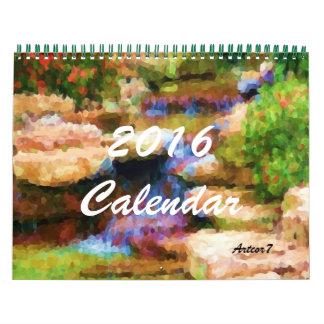 2016 página japonesa del estándar 2 del jardín del calendarios de pared