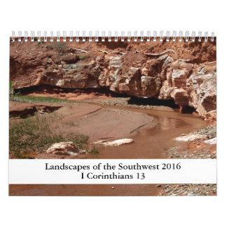 2016 paisajes de la escritura del sudoeste calendarios de pared