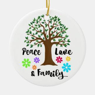 2016 Peace Love Family Tree Reunion Round Gift Ceramic Ornament