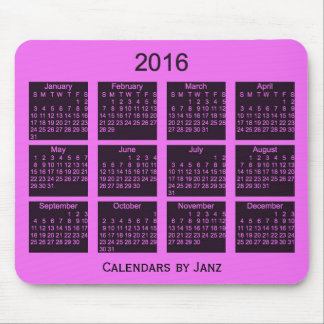 2016 Pink Calendar by Janz Mouse Pad
