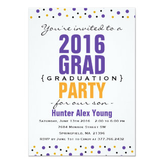 2016 Purple Graduation Party Invitation Modern