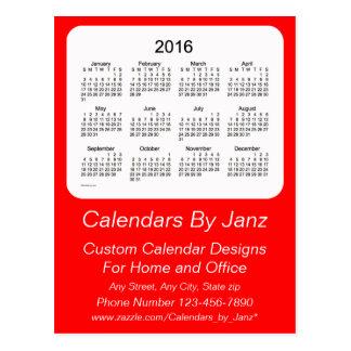 2016 Red Business Calendar by Janz Postcard
