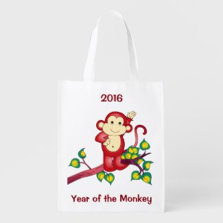 2016 Red Year of the Monkey Reusable Grocery Bag