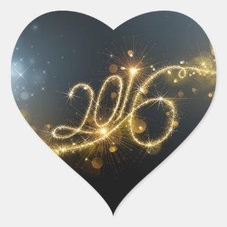 2016 reluciente pegatina en forma de corazón