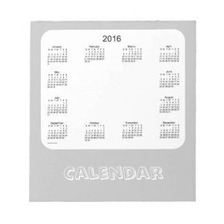 2016 Silver Calendar by Janz Notepad