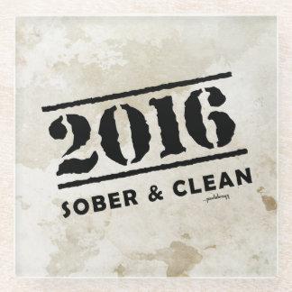 2016: Sober & Clean (12 step drug & alcohol free) Glass Coaster