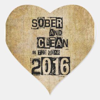 2016: Sober & Clean (12 step drug & alcohol free) Heart Sticker