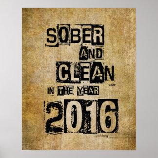 2016: Sober & Clean (12 step drug & alcohol free) Poster