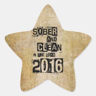 2016: Sober & Clean (12 step drug & alcohol free) Star Sticker