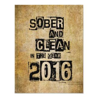 """2016: Sobrio y limpio (droga de 12 pasos y sin Invitación 4.25"""" X 5.5"""""""