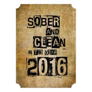 """2016: Sobrio y limpio (droga de 12 pasos y sin Invitación 5"""" X 7"""""""