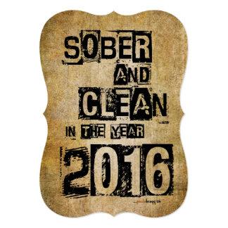 """2016 sobrio y limpio (droga de 12 pasos y sin invitación 5"""" x 7"""""""