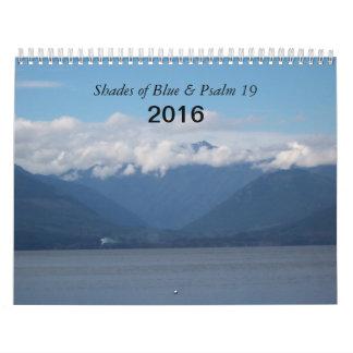2016 sombras del azul y del salmo 19 calendarios de pared