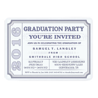 2016 Steel Blue Graduation Party Ticket Invite