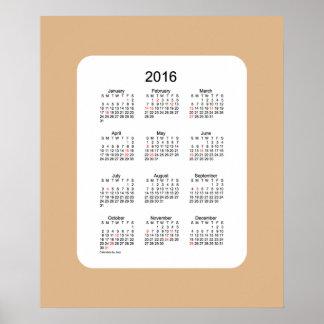 2016 Tan Holiday Calendar by Janz Print