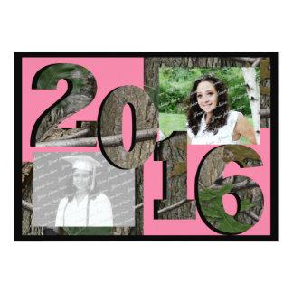 2016 Tree Camo Grad Twin Photo Pink Card