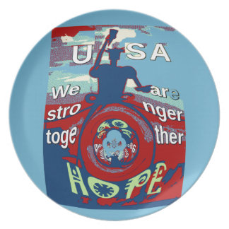 2016 USA Have a Nice Day Hillary Stronger Together Melamine Plate