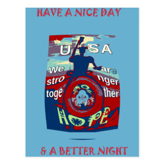 2016 USA Have a Nice Day Hillary Stronger Together Postcard