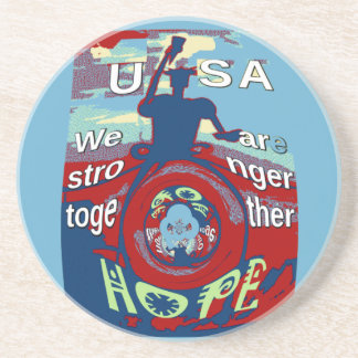 2016 USA Have a Nice Day Hillary Stronger Together Sandstone Coaster