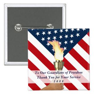 2016 veteranos Día-Militares le agradecen Sq Pin Cuadrada 5 Cm