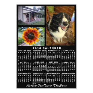 2016 Year Monthly Calendar Black Custom 3 Photos Magnetic Card