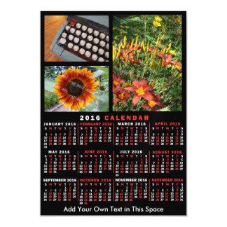 2016 Year Monthly Calendar Black Custom 3 Photos Magnetic Card