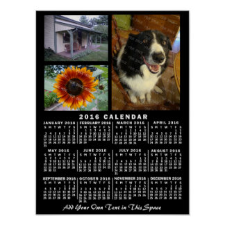 2016 Year Monthly Calendar Black Custom 3 Photos Poster