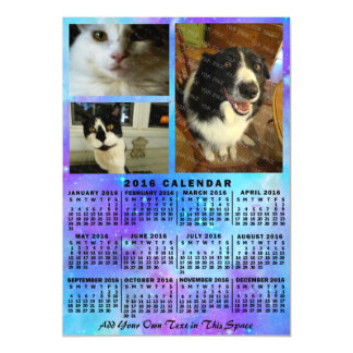 2016 Year Monthly Calendar Blue Watercolor 3 Photo Magnetic Card