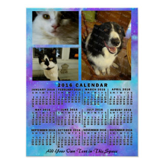 2016 Year Monthly Calendar Blue Watercolor 3 Photo Poster