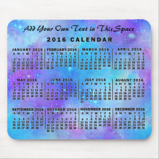 2016 Year Monthly Calendar Blue Watercolor Stars Mouse Pad