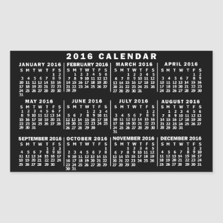 2016 Year Monthly Calendar Classic Black and White Rectangular Sticker