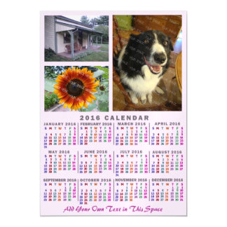 2016 Year Monthly Calendar Colorful Custom 3 Photo Magnetic Card