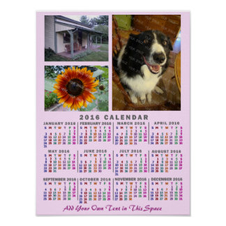 2016 Year Monthly Calendar Colorful Custom 3 Photo Poster