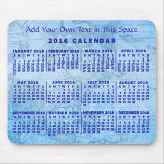 2016 Year Monthly Calendar Custom Blue Antique Map Mouse Pad