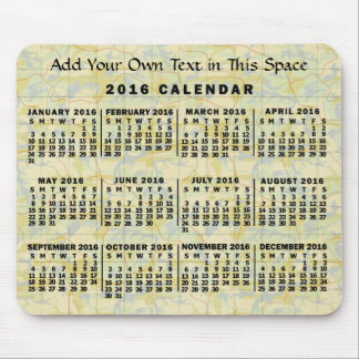 2016 Year Monthly Calendar Old Map Personalized Mouse Pad
