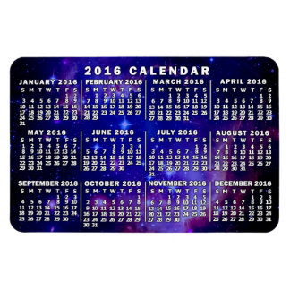 2016 Year Monthly Calendar Outer Space Nebula Magnet