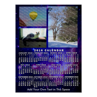 2016 Year Monthly Calendar Space Nebula 3 Photos Poster