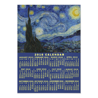 2016 Year Monthly Calendar Starry Night Van Gogh Magnetic Card