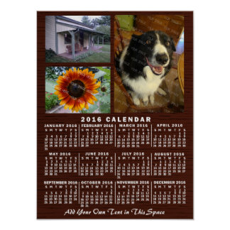 2016 Year Monthly Calendar Wood Custom 3 Photos Poster