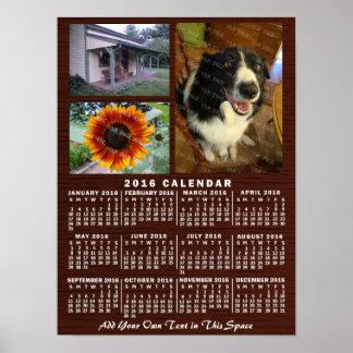 2016 Year Monthly Calendar Wood Custom 3 Photos Poster