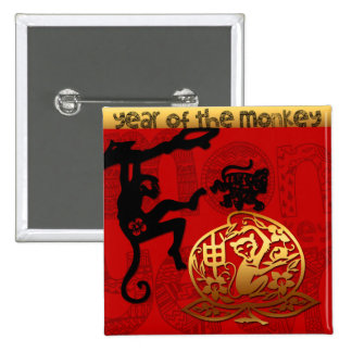 2016 Year of The Monkey Chinese New Year 2 Inch Square Button