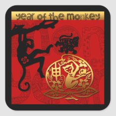2016 Year Of The Monkey Chinese New Year Square Sticker at Zazzle