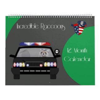 2017 12 month Raccoon Calendar