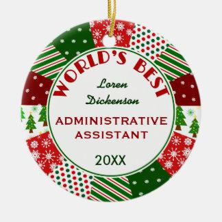 2017 Best Admin Asst Christmas gift Ceramic Ornament