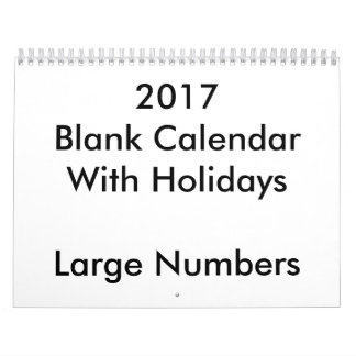 2017 Blank Calendar With Holidays Large Numbers