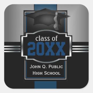 2017 Blue Graduation Year and School Square Sticker